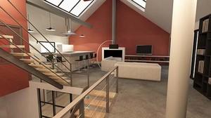 am nagement d 39 un entrep t en loft contemporain par lignes et idees d 39 architectures. Black Bedroom Furniture Sets. Home Design Ideas
