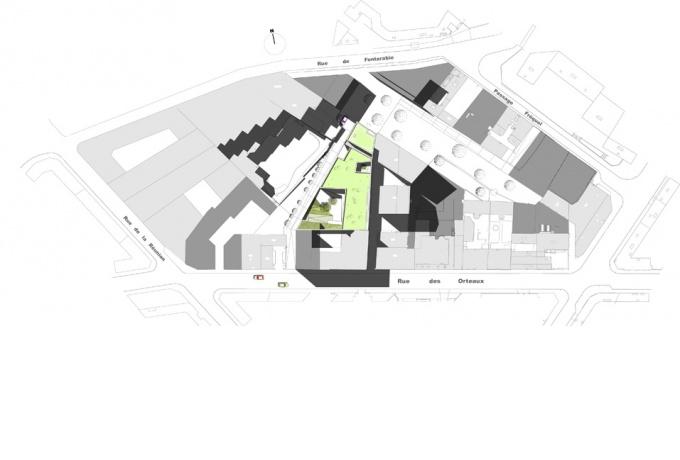 Cr che des orteaux paris 20e d 39 architectures for Architecture triangulaire